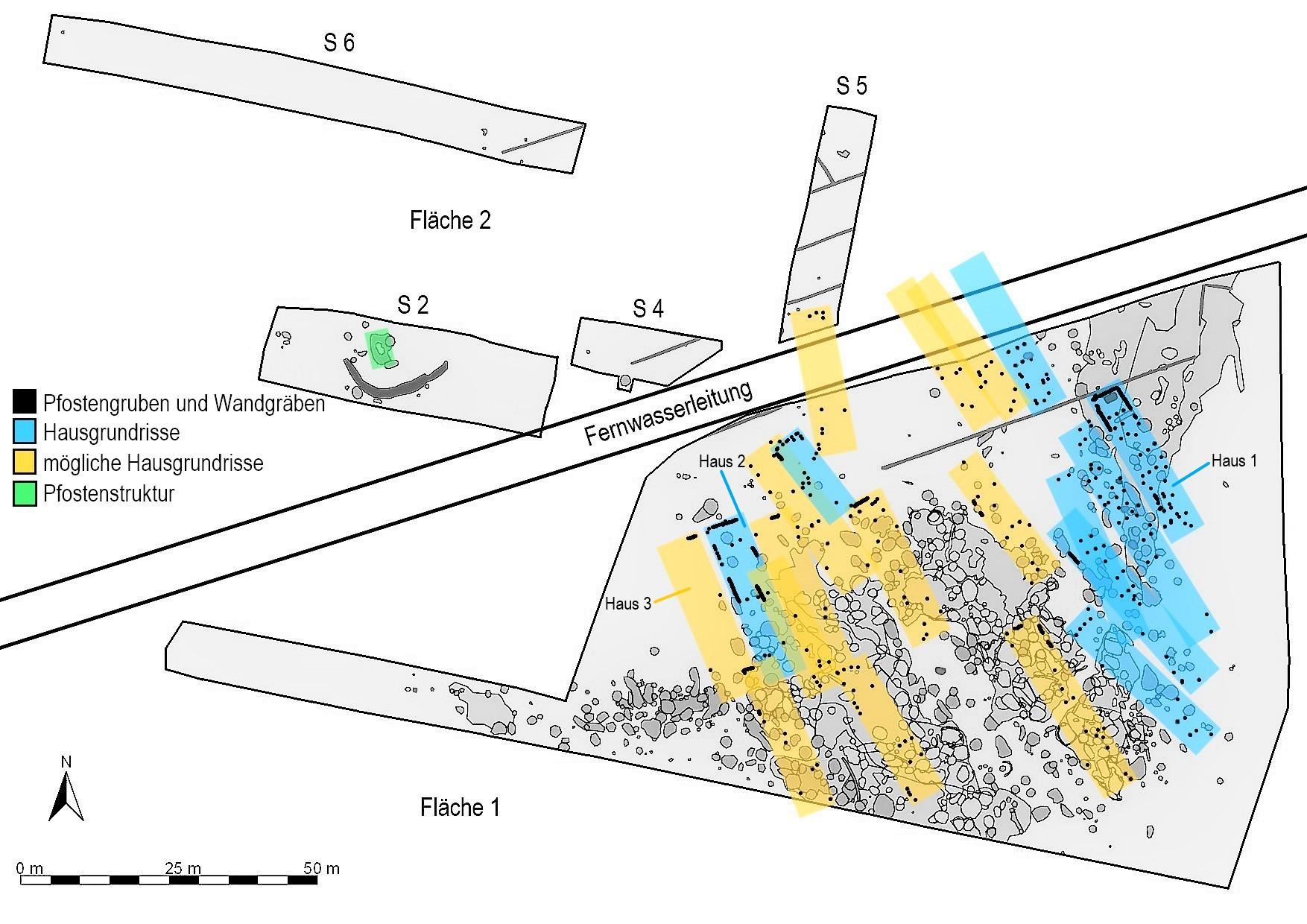 Rekonstruktion der Hausgrundrisse einer Siedlung der Linearbandkeramik auf dem Ohrenberg in Marktbreit/Unterfranken