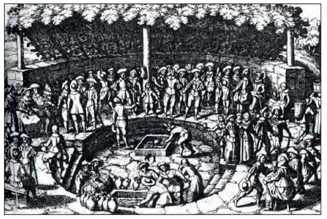 Bild 2: Eines der ältesten Beispiele ist der Weinbrunnen in Schwalbach. Bereits 1631 wurde das Wasser in Steinzeugkrüge und Fässer abgefüllt und transportiert.