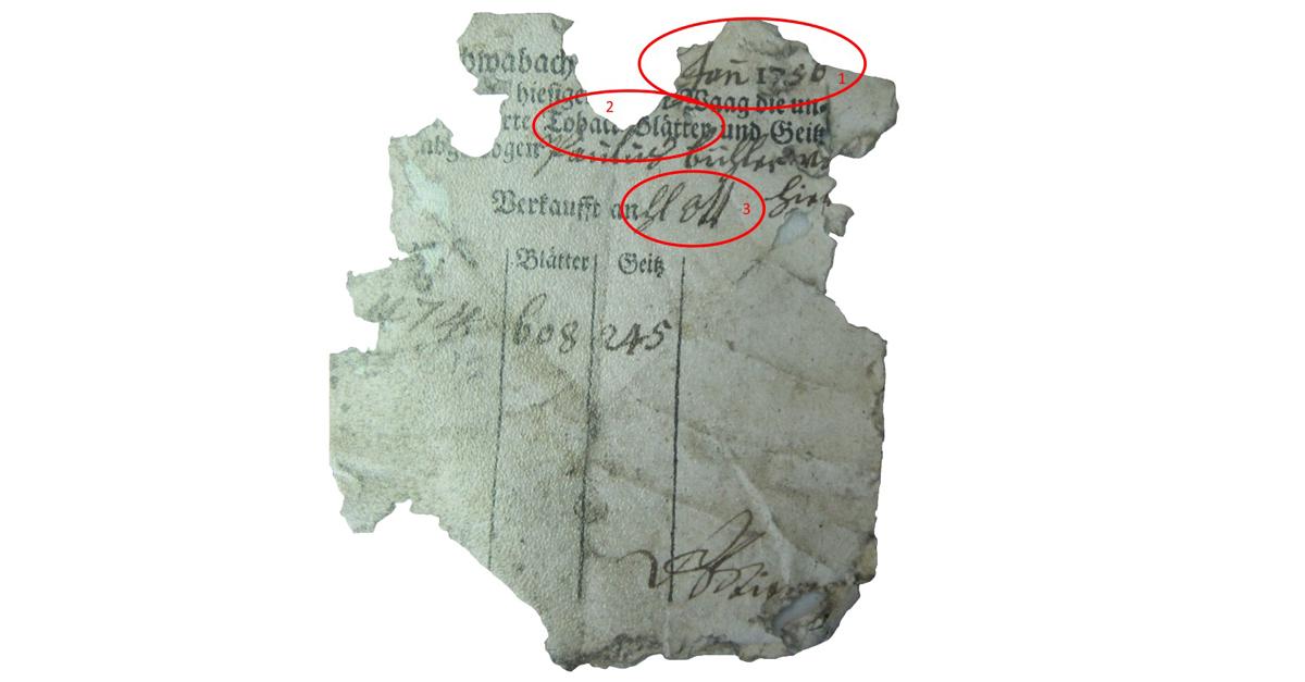 Fragment einer Quittung vom Januar 1756, Schwabach
