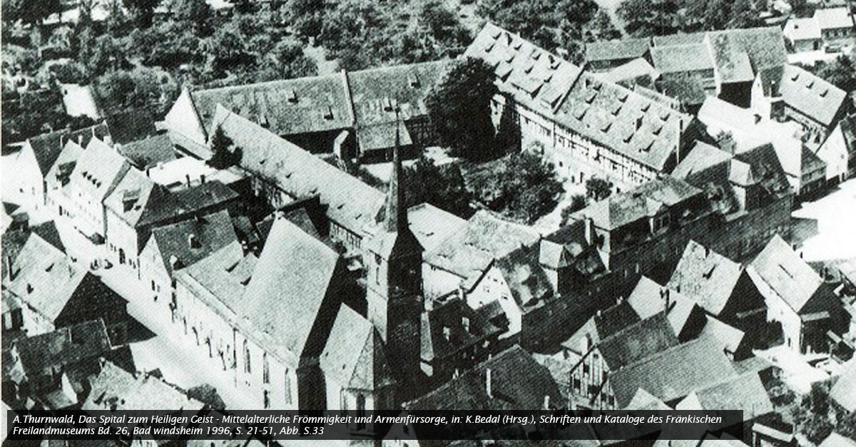 Luftbild des Heilig Geist Spitals in Bad Windsheim vor 1968