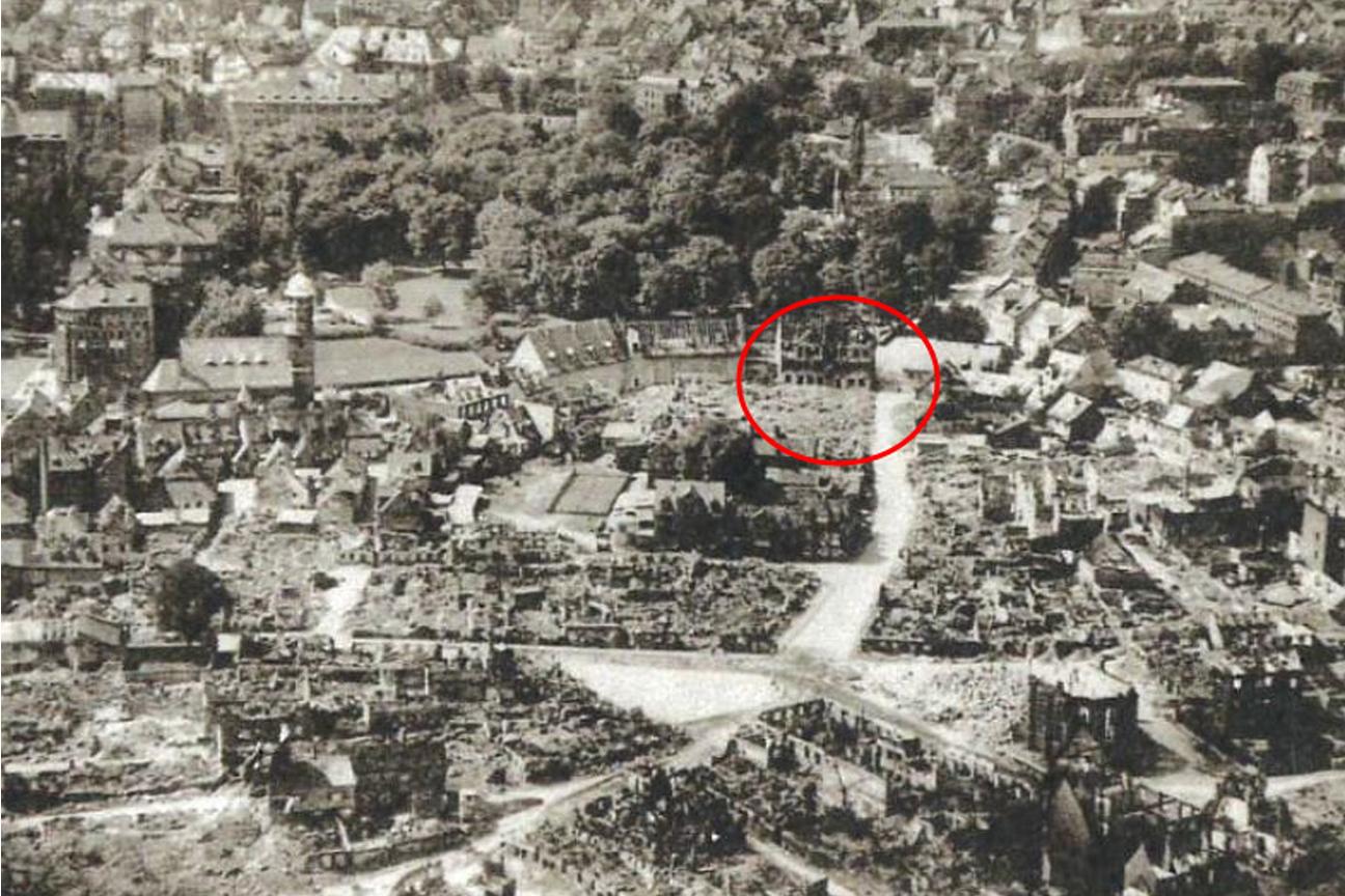 Nuernberg-Woehrd-nach-Luftangriff-Lage-der-Ausgrabung